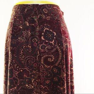 Vintage Boho Paisley Button Down Maxi Skirt